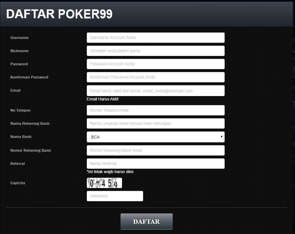 formulir daftar poker99