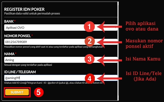 cara daftar idn poker ovo dan dana